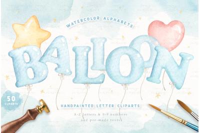 Balloon Alphabets Watercolor Clip Arts