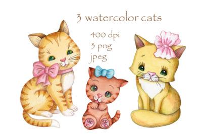 3 watercolor cats