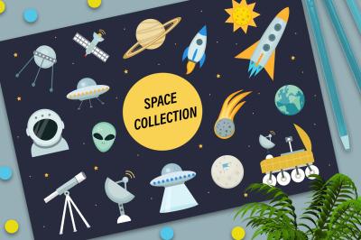 Space icon set flat style