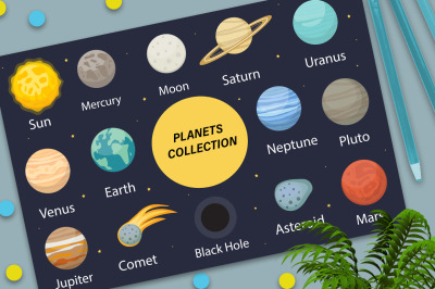 Planet solar system icons flat style