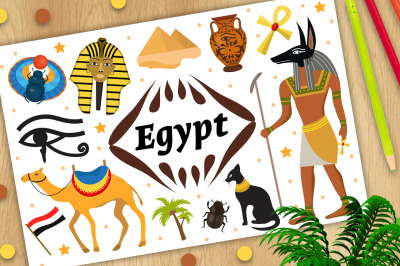Ancient magic Egypt set icons objects.