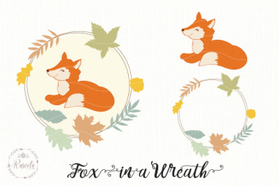 Autumn Wreath And A Little Fox