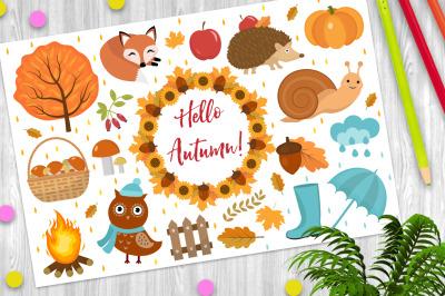 Hello Autumn icons set