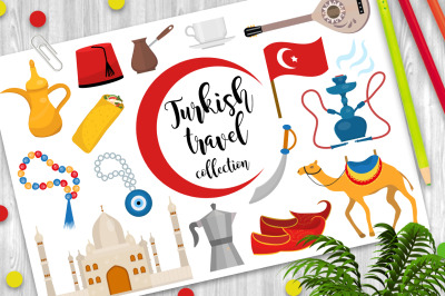 Turkey travel flat icon set