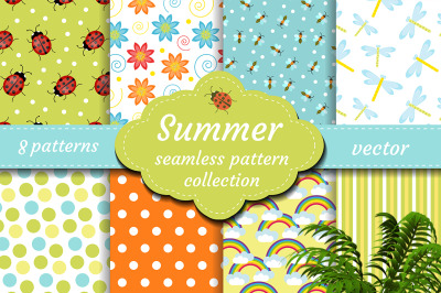 Cute insects seamless pattern set