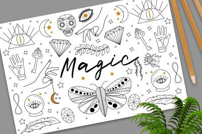 Magic Hand drawn, doodle, sketch line style set
