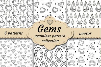 Diamond seamless pattern set