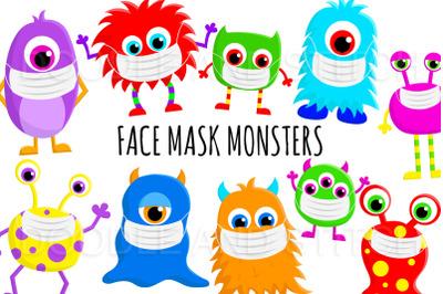 Face Mask Monster Clipart Designs