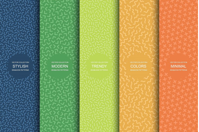 Color minimalistic seamless patterns