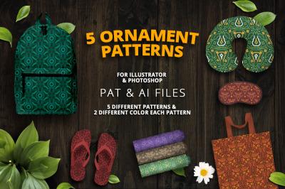 5 Ornament Patterns Vector