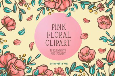 Pink Floral Clipart Set