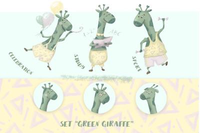 Green Giraffe. A character for a children's development center, traini