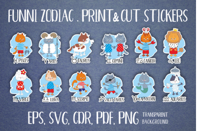 Zodiac with funny cats. Stickers set.