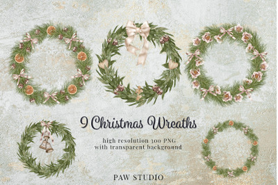 Christmas Wreath Clipart Winter Greenery Holidays New Year Cardidays N