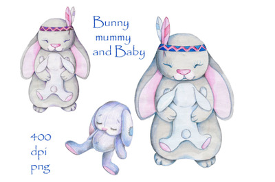 Bunny Mummy and Baby. Watercolor illustration.