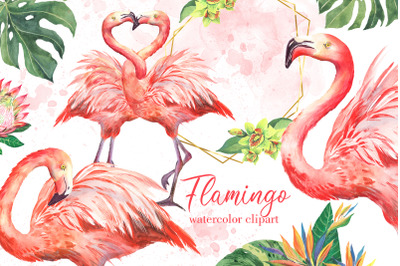 Pink flamingos watercolor clipart. Tropical birds and flowers, floral