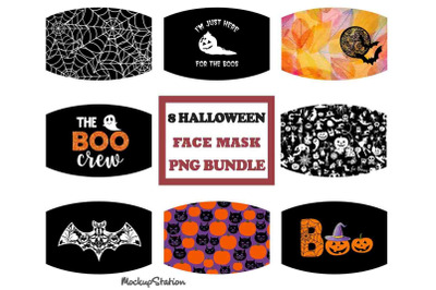 Halloween Face Mask PNG Sublimation Designs Bundle, Pumpkin Face Cover