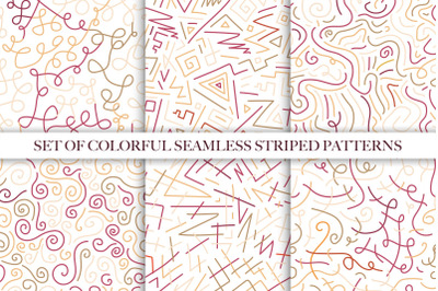 Color hand drawn seamless patterns