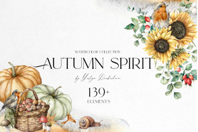 Autumn spirit. Watercolor fall clipart