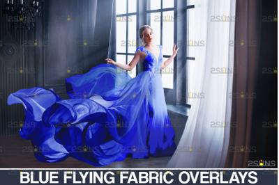163 Blue fabric Flying dress overlay & Photoshop overlay