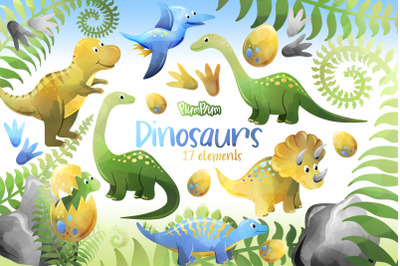 Dinosaurs Watercolor Cliparts
