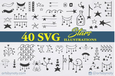 Stars and superstars SVG pack with 40 illustrations.