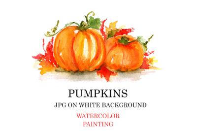 Bright pumpkins watercolor painting