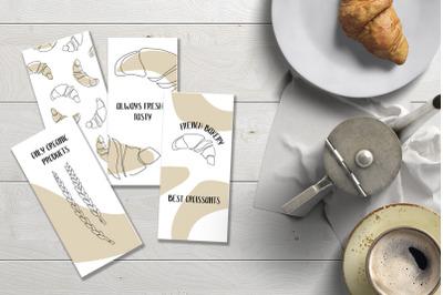 Baking. Croissant. Set of flyers. Continuous line art