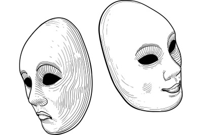two theatre mask