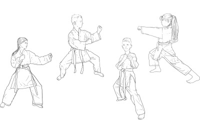 Karate several positions