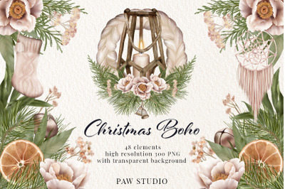 Christmas Clipart Boho Wreath Winter Holiday Decoration Holly Leaves
