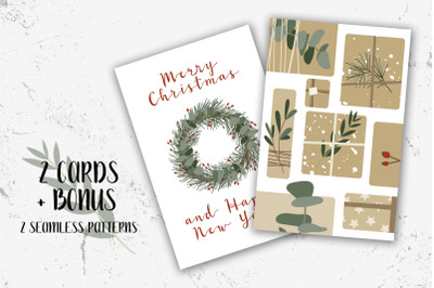 2 Christmas cards and Bonus. Merry Xmas and Happy New Year