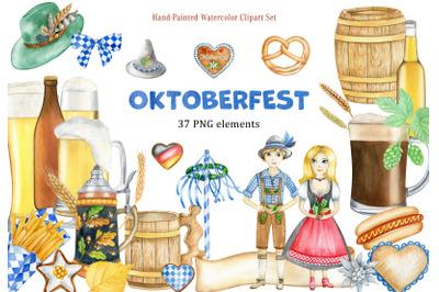 Watercolor Oktoberfest german folk beer festival clipart.