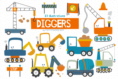 Diggers clipart set