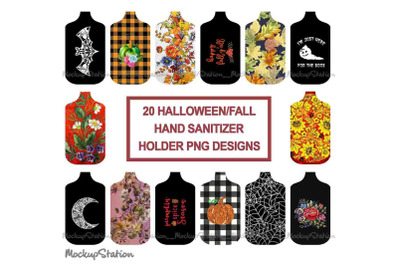 Fall Hand Sanitizer Holder Sublimation Designs Bundle PNG