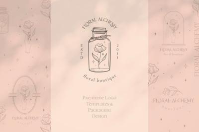 Pre-made Logo Template + Packaging. Branding kit. Vintage floral logo.