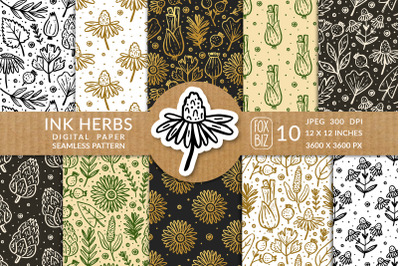 Ink herbs, plants. Digital paper, seamless pattern.
