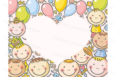 Heart-shaped frame with kids and balloons