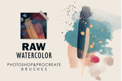 Raw Watercolor - Photoshop & Procreate Stamp Brushes