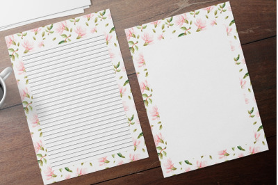 Watercolor Magnolia Stationery Set