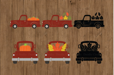 Fall Truck SVG, Pumpkin Truck SVG Cut Files,  Truck with Leaves SVG.