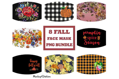 Fall Face Mask PNG Sublimation Designs Bundle, Pumpkin Autumn