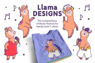 Music Llamas. T-shirt designs