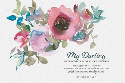 Vintage-inspired Watercolor Floral Clipart