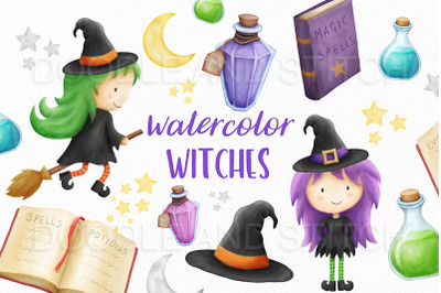 Watercolor Witch Clipart Illustrations