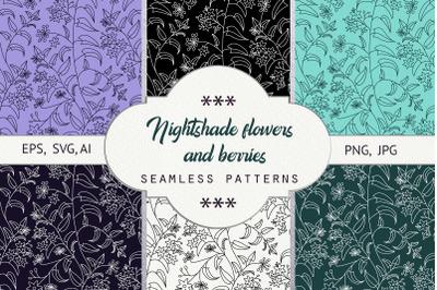 Nightshade. Seamless patterns