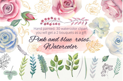 Pink and blue roses. Watercolor clipart
