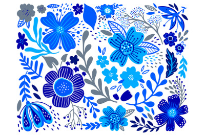 Flower folk blue set