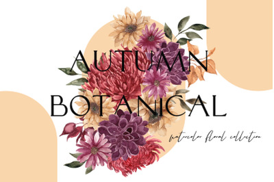 Autumn Botanical. Watercolor floral collection
