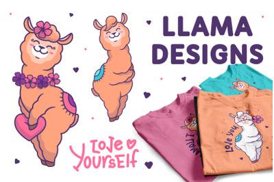Llama loves you. Apparel designs